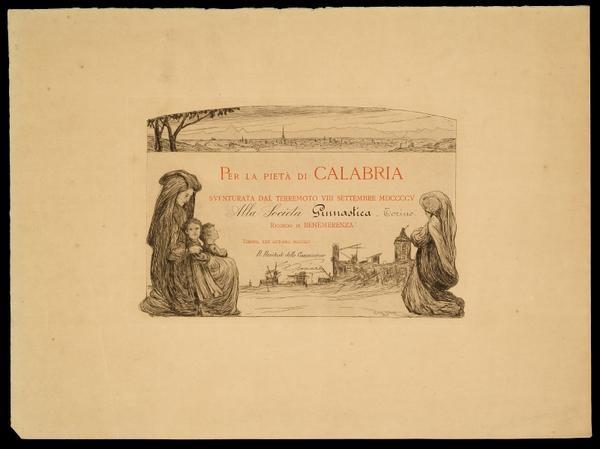 Ricordo di Benemerenza per il terremoto di Calabria dell'8 settembre 1905 - Torino, 22 ottobre 1905