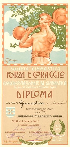 Concorso Nazionale Ginnastico di Milano - Diploma di Argento medio, squadra Allievi. Milano, 1 giugno 1902