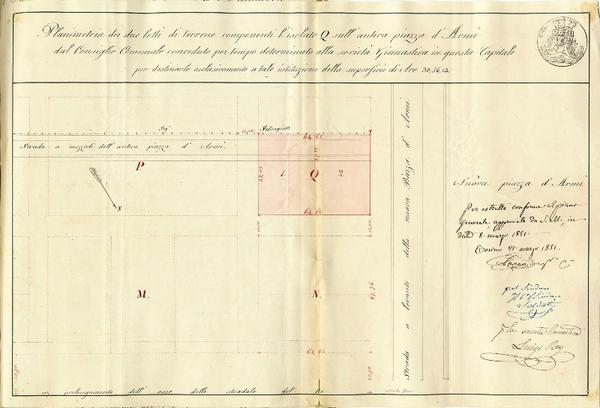 Planimetria del terreno (attuale via Magenta)